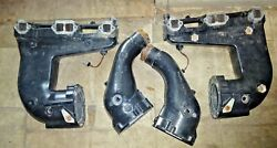 [set Of 2] Volvo Penta Exhaust Manifolds 21356427 21356425 And Risers 21468082