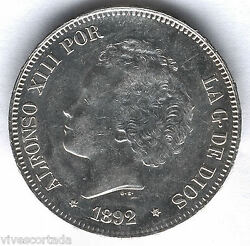 Alfonso Xiii 5 Pesetas 1892 Pgm Loops @without Circular@