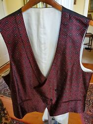 Brioni Menand039s Size 46 R Geometric Red And Black Double Breasted 100 Silk Vest.