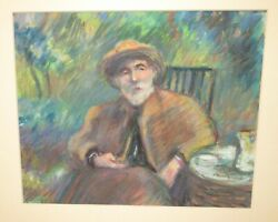 JOAN MULGREW OLDER MAN WITH A PIPE ORIGINAL PASTEL PAINTING