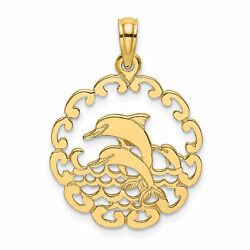 Lex And Lu 14k Yellow Gold Cut-out Jumping Dolphins Charm
