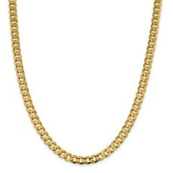 14k Yellow Gold 7.5mm Open Concave Curb Chain Bracelet Or Necklace Lcr200