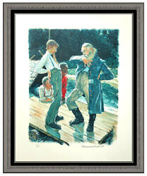 Norman Rockwell Hand Signed Lithograph Huckleberry Finn Your Eyes Is Lookin Art