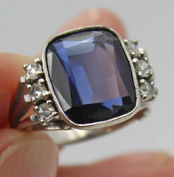 Vintage Synthetic Verneuil 6.7 Ct Sapphire 18k White Gold Diamond Ring Sz 6.25