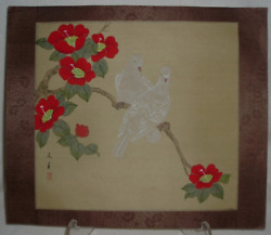 Signed 1919-49 Chinese Silk Hand Painting Doves And Apple Blossoms Rice Paper Org