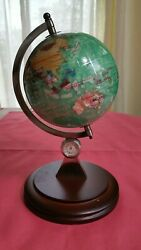 Mother Of Pearl Globe Gemstone Inlay On Wood Stand W/ Compassclock 8.5tall