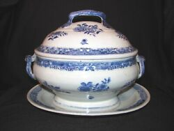 Antique Chinese Export Covered Tureen With Platter Circa 1800