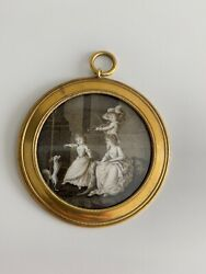 Rare Antique Sepia Miniature Painting C1800 Children Playing Violin For Dogs