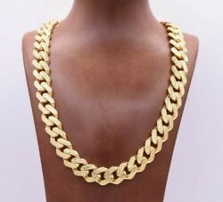 15mm Mens Miami Cuban Diamond Cut Royal Link Chain Necklace Real 10k Yellow Gold