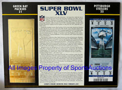 Super Bowl 45 Green Bay Packers Steelers Willabee And Ward 22kt Gold Ticket Sb Xlv