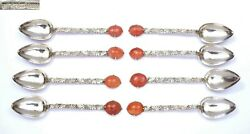 1940's Chinese Set 8 Solid Silver Agate Carnelian Carved Bead Tea Spoon Mk