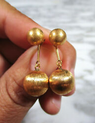 Pair Mid Century Solid 18k Yellow Brushed Gold Convertible Ball Dangle Earrings