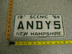 1969 69 New Hampshire Nh Vanity License Plate Andy5 Andy Andrew