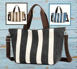 "Canvas Striped Large Tote 20x13"" $37.88"