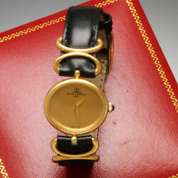 Womens Baume Mercier Gold Watch With Box | 18k Gold Oval Case Gold Dial