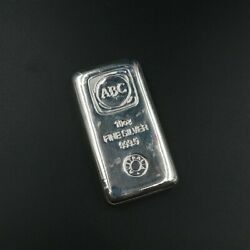 Abc 10 Oz Silver Bullion Bar With Free Post, Tracked And Insured.