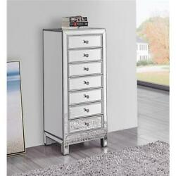 Mirrored Dresser Cabinet Chest Antique Silver Living Room Bedroom 7 Drawers 42