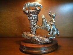 Fine Pewter Sculpture Summit Confrontation By Peter Sedlow, Limited Edition