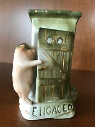 Antique German Fairing Pig Outhouse Bud Vase