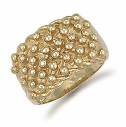 9ct Yellow Gold Woven Back 6 Row Keeper Ring
