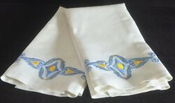 Pair Of Vintage Linen Hand-embroidered Towels. Vv545
