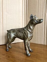 """Large Antique Cold Painted Austrian Bronze 7"""" Dog, Hound, Detailed, Heavy"""