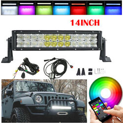 14 Inch 72w 5d Rgb Led Work Light Bar Driving And Bluetooth Wiring Harness Kits