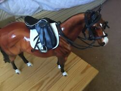 Toy Horse Tack Set ,traditional Sized Black Leather English Double Bridle And S