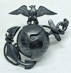 Beautiful Wwi-1920and039s Usmc Officer Undress Hat Badge. The Beastby Gemsco
