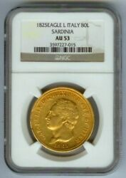 1825 L Gold Sardinia Italy 80 Lire Ngc About Uncirculated 53 Rare