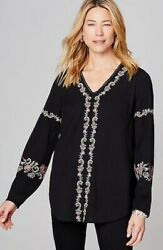 J. Jill - L - New Very beautiful Embroidered V-Neck Top - NWT