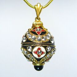 Traditional Cloisonne Enamel Faberge Egg Pendant Crystals Onyx Gold-plate Chain