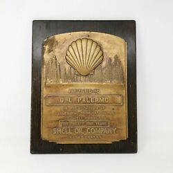 Vintage Shell Oil Company Bronze Award Plaque Cast And Metal Solid Wood