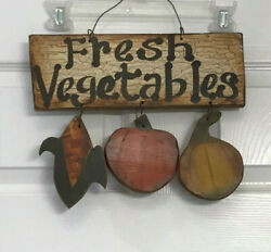 Vintage Rustic Wood Sign Garden Vegetables Country Kitchen Corn Tomato 13' 10'