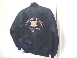 Vintage Embroidered Gallant And Wein Local 3 Ibew Black Satin Bomber Jacket Xl