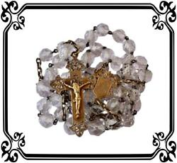 Large Antique French Religious Glass Beads Sterling Silver Rosary 1890