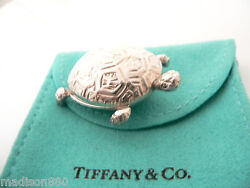 And Co Silver Nature Turtle Pet Pill Box Case Container Very Rare Gift