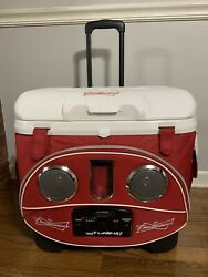 """Re/white Icy Tunes Budweiser 40 Qt Igloo Cooler W Radio Speakers 19""""x15x19""""t"""