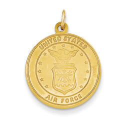 14k Yellow Gold Us Air Force Saint Christopher Medal Pendant Rel140