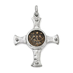 Sterling Silver And Bronze Antiqued Widows Mite Coin Cross Pendant Qac106