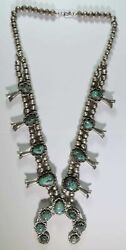Vintage Old Pawn Native Navajo Sterling Silver Turquoise Squash Blossom Necklace