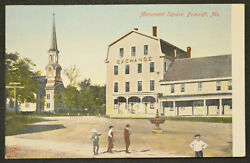 Antique MONUMENT SQUARE FOXCROFT MAINE Postcard EXCHANGE PEOPLE CHURCH