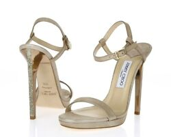 Jimmy Choo Claudette 120 Nude Shimmery Suede Ankle Strap Sandals Size 39.5