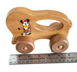 """Antique 6"""" Mickey Mouse Wooden Pull Toy Cart By Walt Disney Productions As Is"""