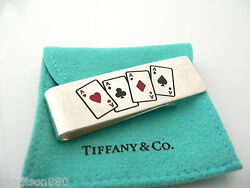 And Co Silver Four 4 Aces Cards Heart Money Clip Holder Gift Poker Pouch