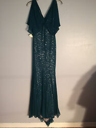 Badgley Mischka Collection Silver Sequin GownTurquoise NWT 4