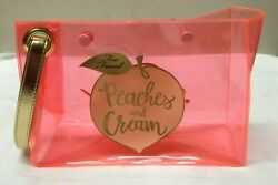 Too Faced Limited Edition PEACHES AND CREAM Cosmetic Clear Orange Makeup Bag $12.00