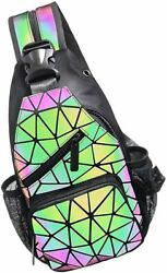 PYFK Geometric Backpack Luminous Holographic Color Changes Flash Reflective Cros