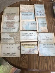 National Geographic Maps 1950andrsquos Lot Of 14 World Asia Europe Africa Us W Indies