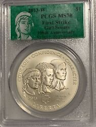 2013-w Girl Scouts Pcgs Ms70 Commemorative Us Silver Dollar First Strike